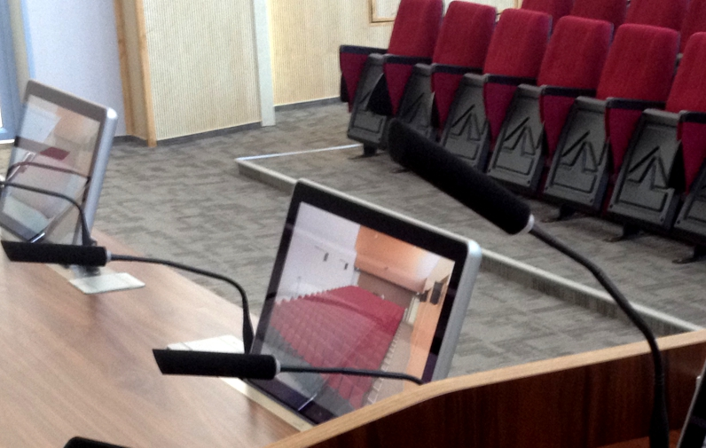 retractable monitors for auditoriums
