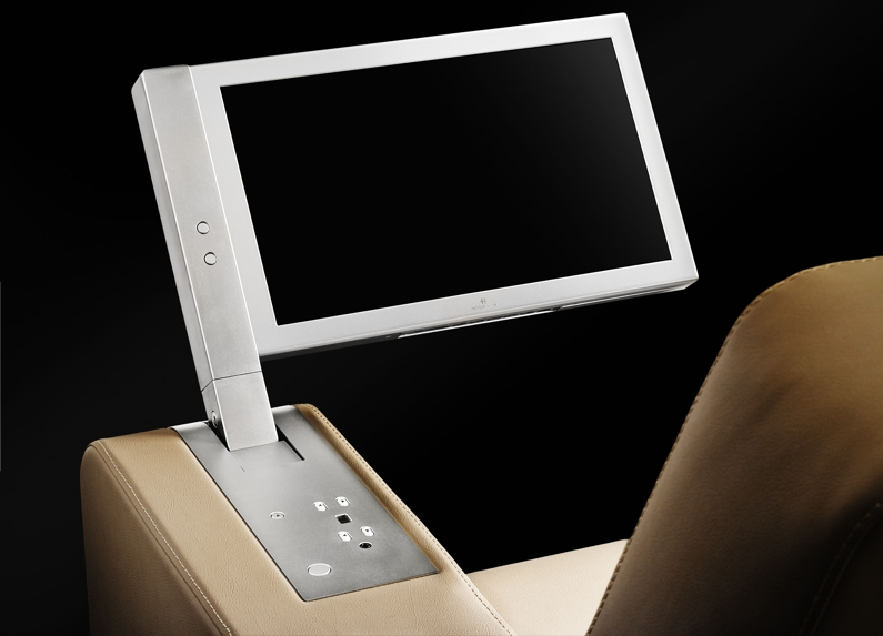 motorised retractable monitor for chair armrests