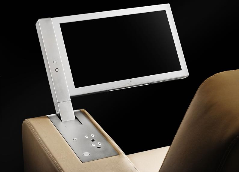 monitor retráctil motorizado para reposabrazos de butacas