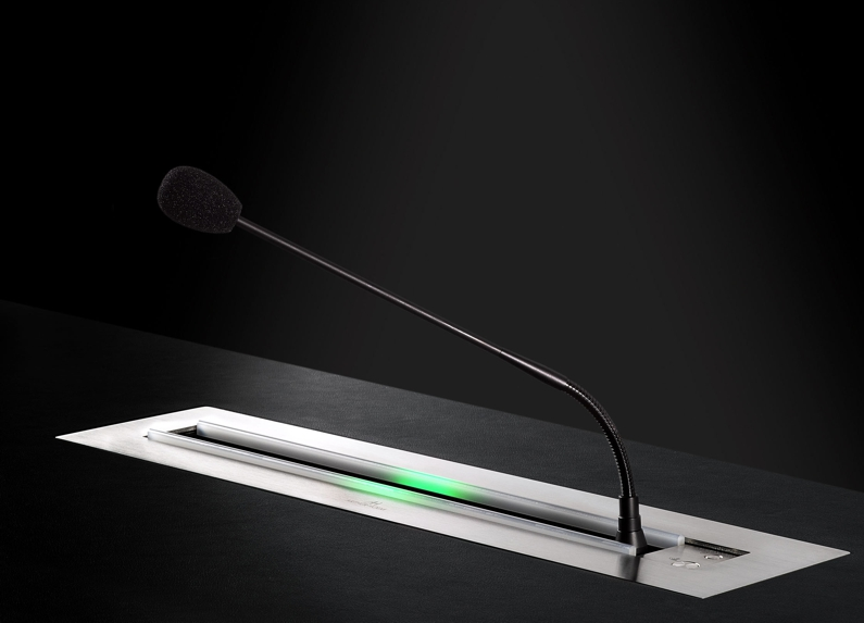 system to hide gooseneck microphones