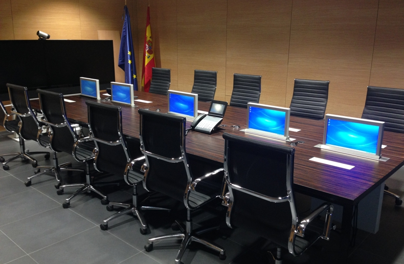 motorised monitors for meeting rooms