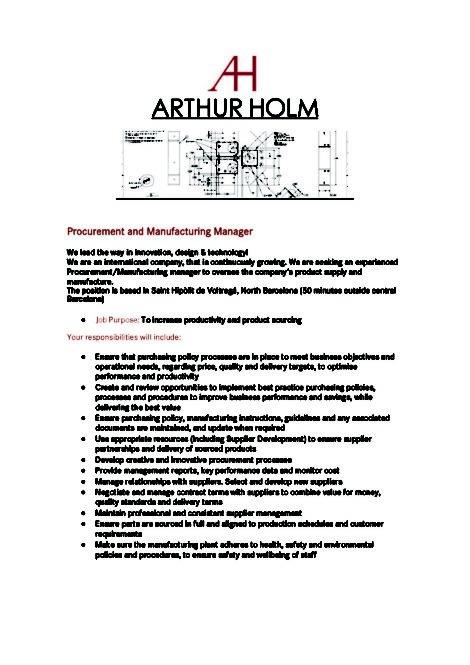 Procurement Manager JOB - Arthur Holm