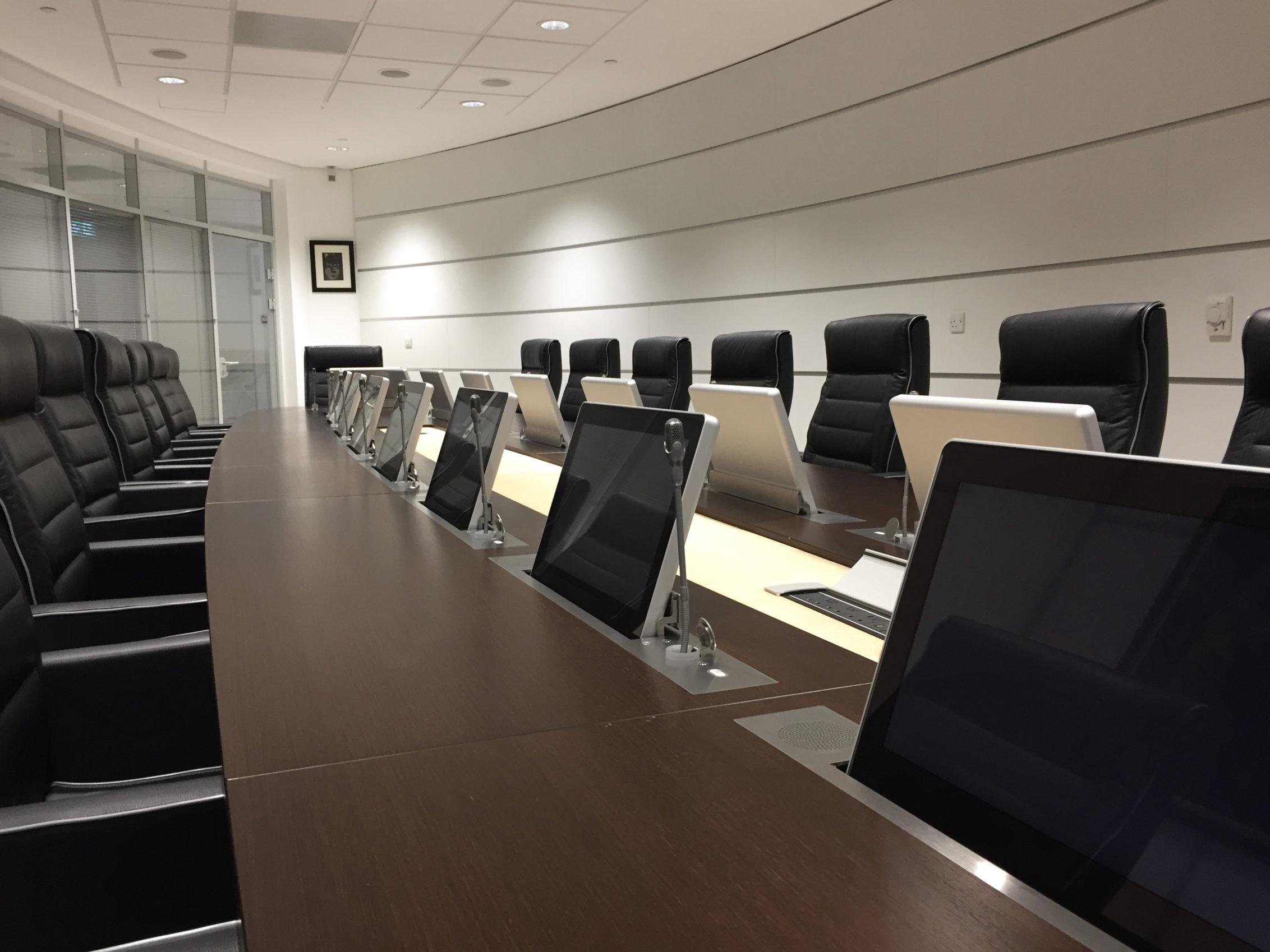 retractable monitors meeting room