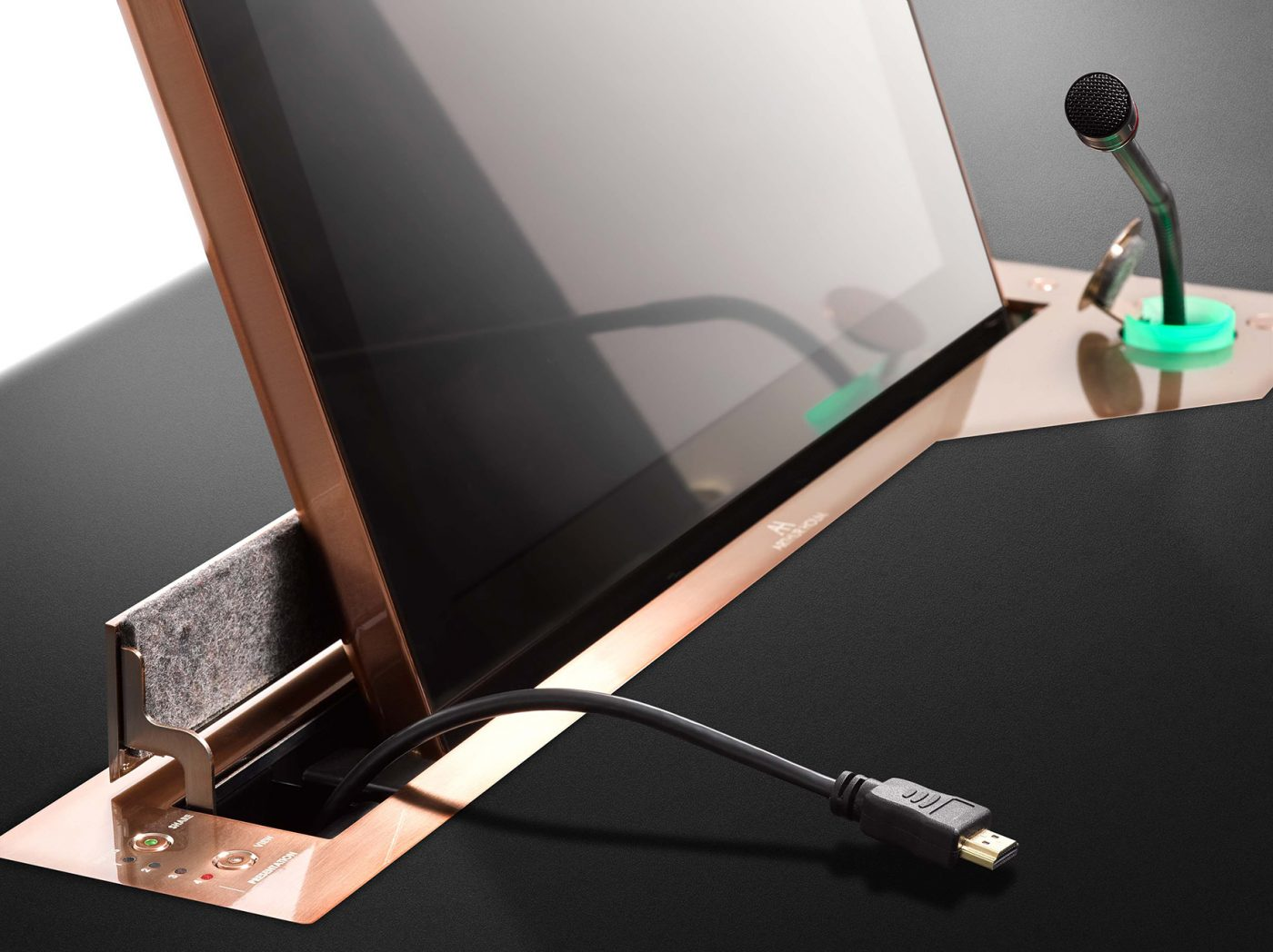 retractable monitor with microphone and personalised finish