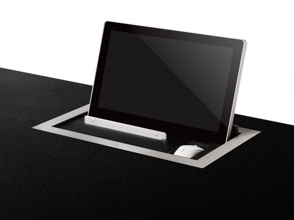 motorised tray for keyboard and mouse