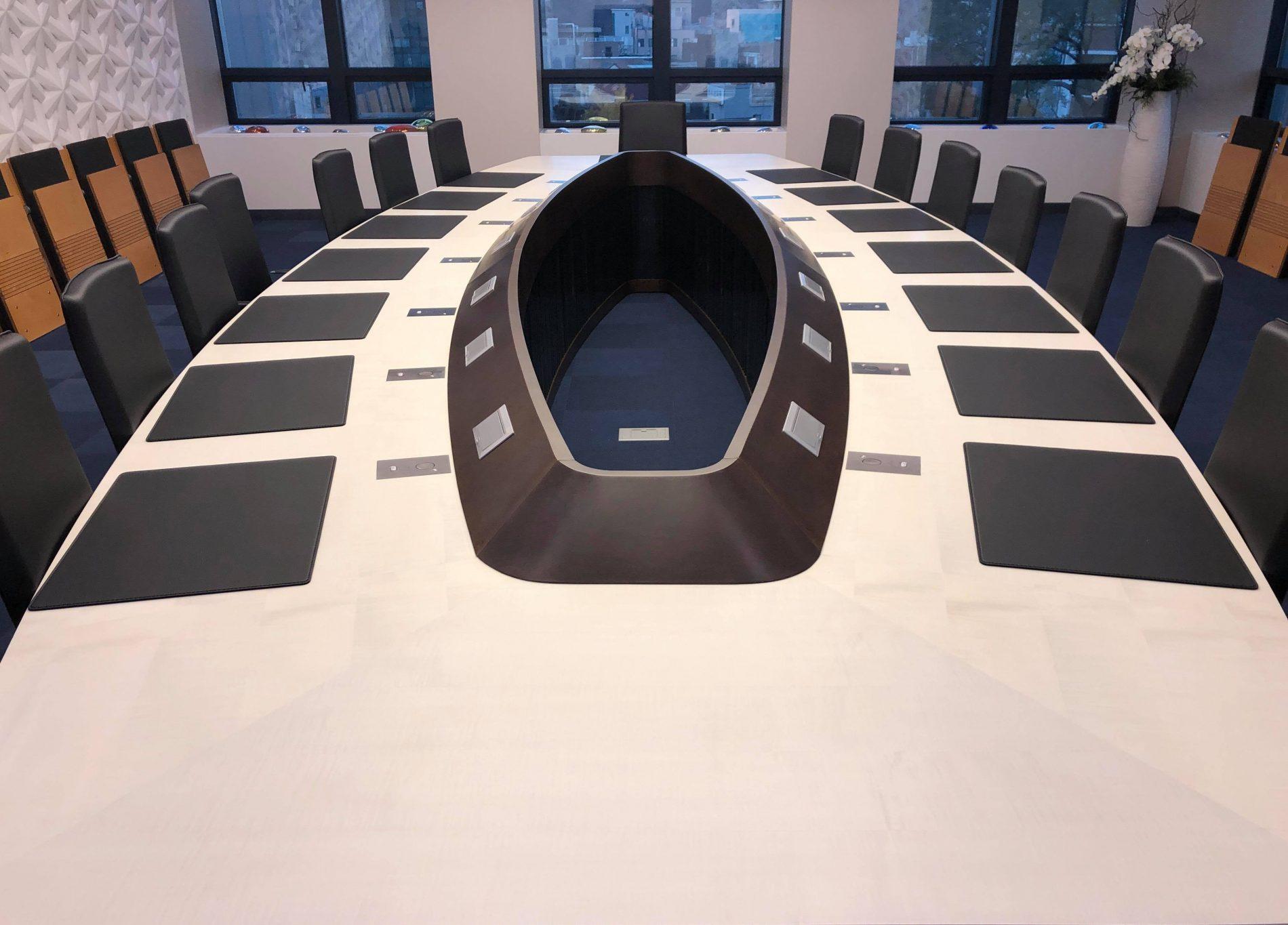 motorised microphones for meeting rooms