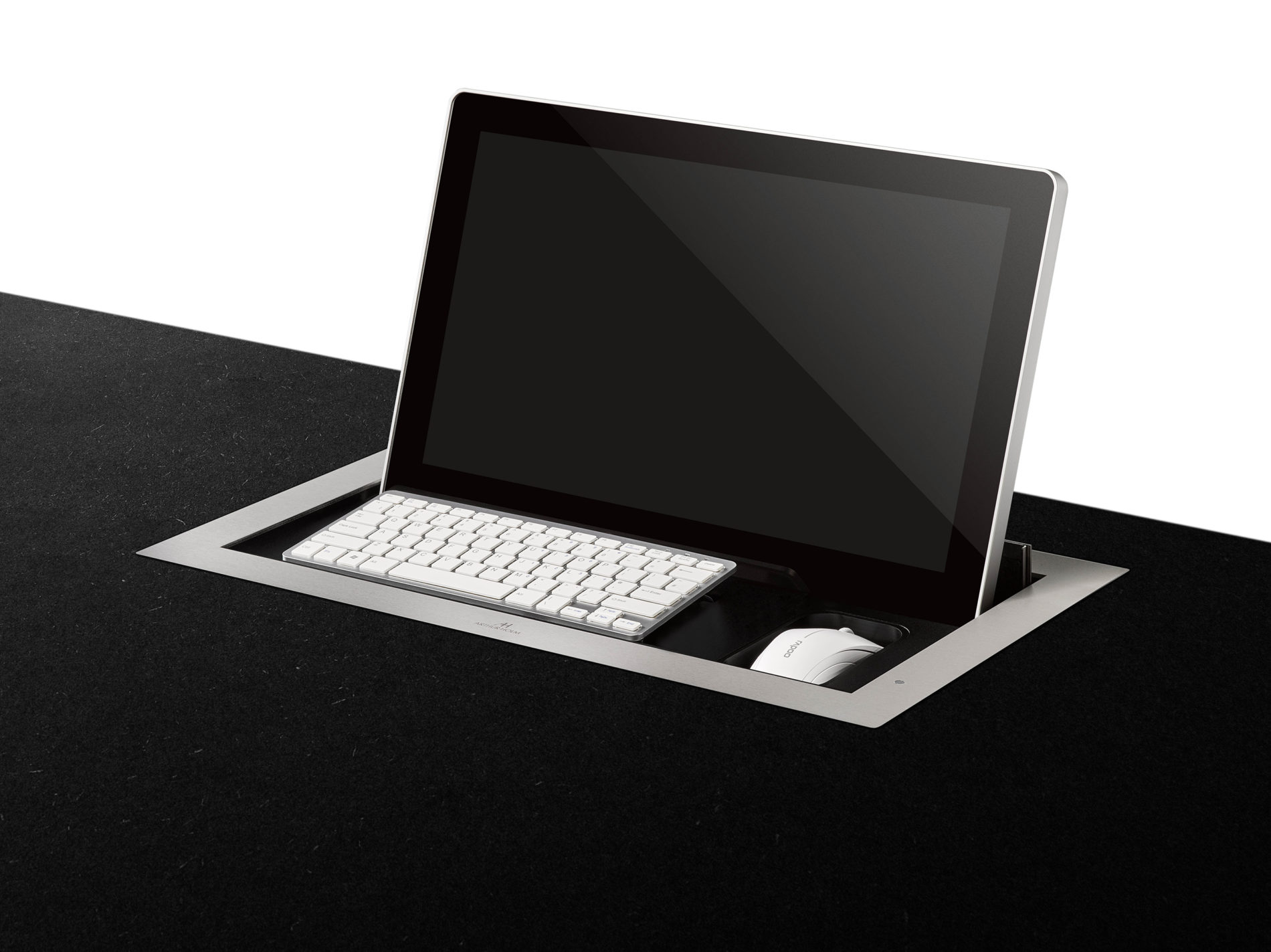 retractable monitor with keyboard tray