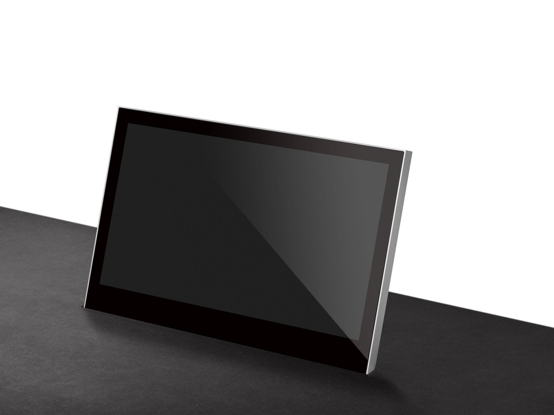 monitor oculto totalmente en la mesa