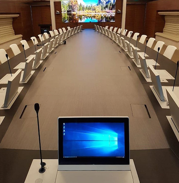 retractable monitors with microphone for meeting rooms