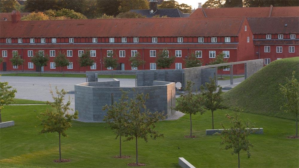 Elegant and sober signage at the Information Centre for the Monument for Denmark's International Effort Since 1948