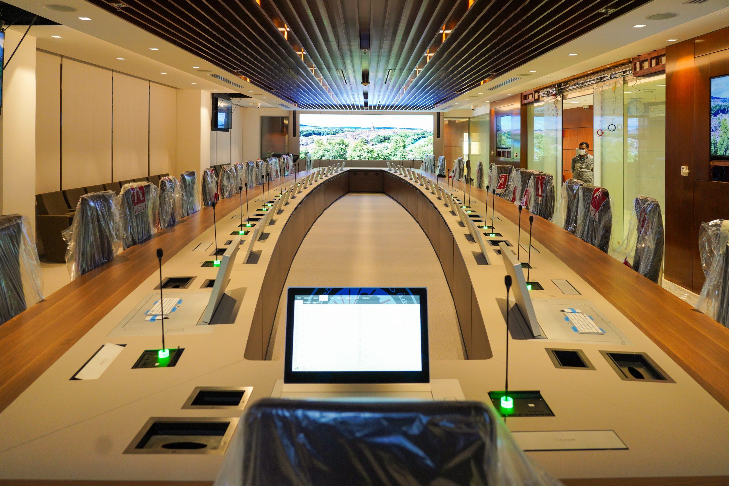 The conference room at Prince Mohammad Bin Fahd University in Al Khobar